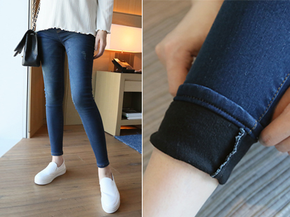 Hub skinny jeans, brushed lining thick happo